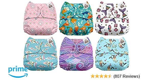 Amazon.com : Mama Koala One Size Baby Washable Reusable Pocket Cloth Diapers, 6 Pack with 6 One Size Microfiber Inserts (Sea Treasure) : Baby