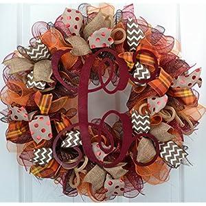 Welcome Fall   Maroon Burlap Thanksgiving Monogram Letter Door Wreath; Red Brown Orange : F2 67