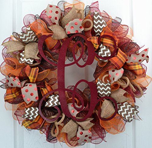 Fall Welcome Wreath (Welcome Fall | Maroon Burlap Thanksgiving Monogram Letter Door Wreath; Red Brown Orange : F2)