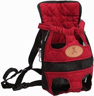 Lvcky en Toile Souple Dog Pet Sac de Transport Avant Sac à Dos épaule Bande Coffre Puppy Cat Sac de Voyage(Reds?Bust Size:32cm)