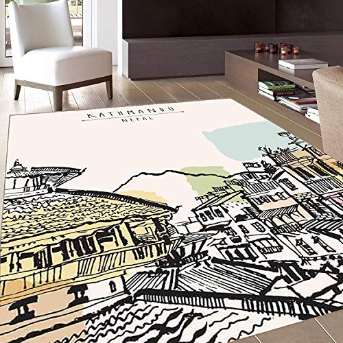 Rug,FloorMatRug,Nepal,AreaRug,Hand Drawn Building of Durbar Mountains and Buildings in Kathmandu Tourist Attraction,Home ()