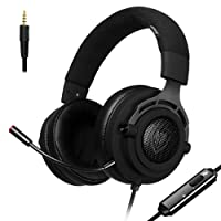 Fabric PS4 Gaming Headset with Breathing Fabric Headband, Detachable Microphone, 45° Rotatable Earcups, 5.25ft Wire, Mute Volume Control, Xbox One PC Stereo Headphones, in-Line Noise Cancelling for PC, Laptop, Mac, Nintendo Switch (N9D - 3.5mm, Black)