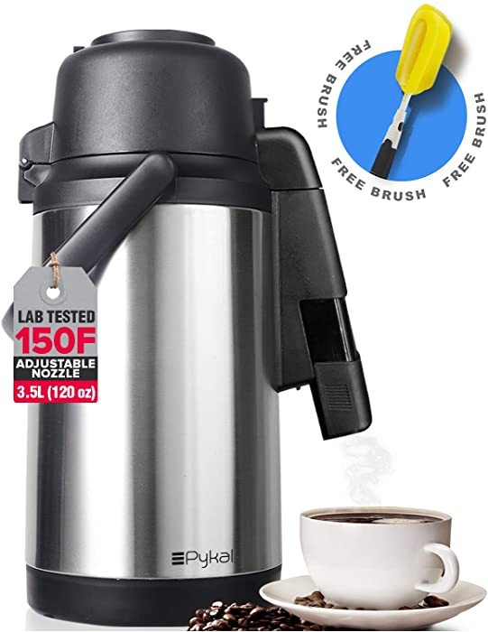 New SplashProof Technology Airpot Thermal Coffee Carafe Dispenser 120oz - with Adjustable Nozzle | Lab Tested 24 hour > 150F Retention | FREE Long Handle Brush | Full Stainless Steel Vacuum by Pykal