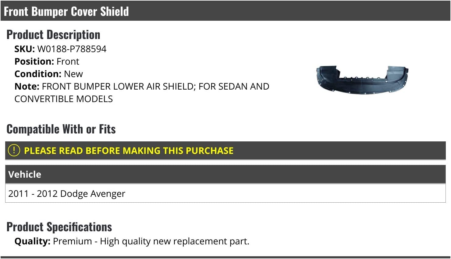 Front Bumper Lower Cover Shield Sedan//Convertible Compatible with 2011-2012 Dodge Avenger