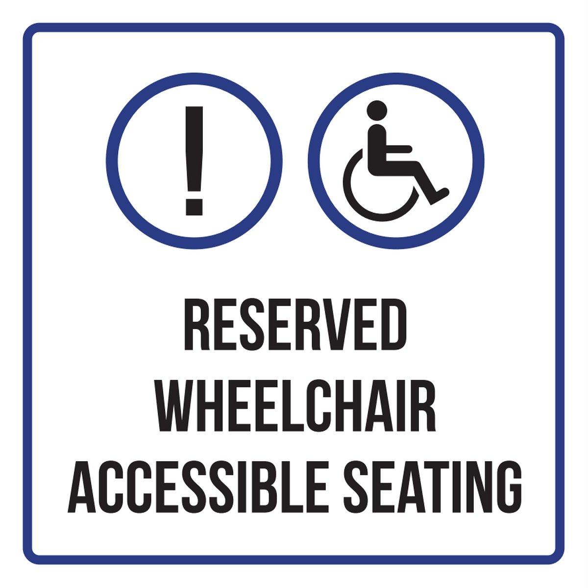 予約車いすアクセス可能Seating DisabilityビジネスCommercial安全警告Squareサイン – 9 x 9 9x9 9x9-211-METAL B0785SM527