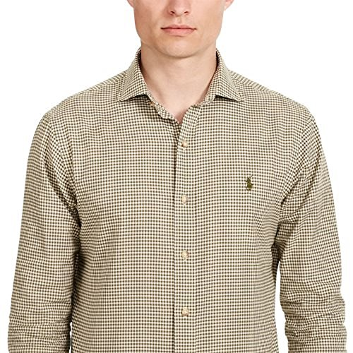 RALPH LAUREN Polo Men's Slim Fit Checked Twill Shirt, Olive/Cream, XS at  Amazon Men's Clothing store: