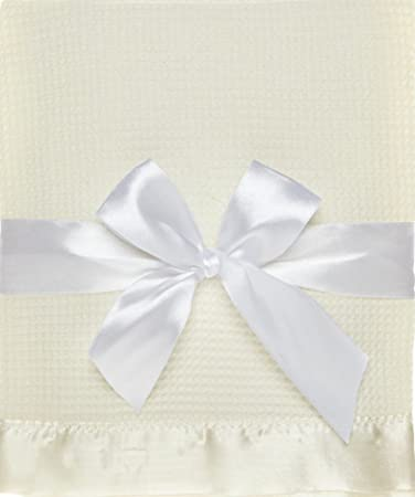 Amazon.com   Thermal Waffle Weave Baby Blanket with Satin Nylon Trim (Ivory)    Baby 1d1ba9f9e