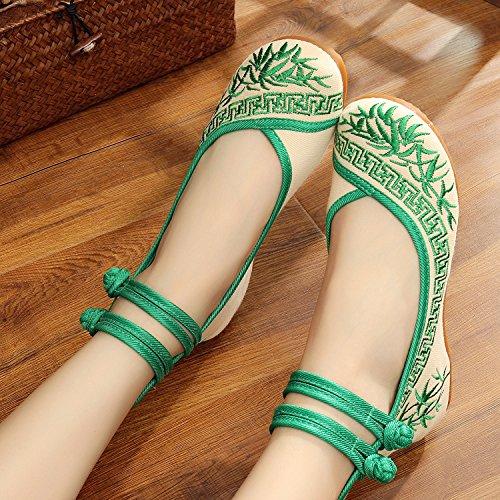 Bordado Gamuza Zapatos Étnico Suela Cómodo El Mn En Tendón Mujeres Aumento Verde Zapatos De Estilo Casual Moda fCpwx