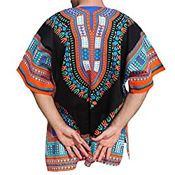 RaanPahMuang Brand Unisex Bright Coloured African Dashiki Cotton Shirt