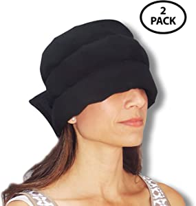 HEADACHE HAT The Original - Wearable Ice Pack for Migraine & Headache Relief, Long Lasting Cooling Therapy, Stress Relief, Tension Relief, Eye Mask, Regular Size (2 Pack)