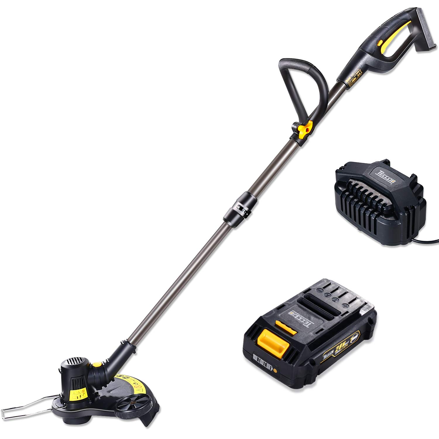 TECCPO Strimmer, 28V 2.0Ah Cordless Strimmer, 280/330mm Cutting Diameter, AFS Automatic Line Release, Telescopic Handle, Ideal for Garden Trimming and Edging - TDLT01G