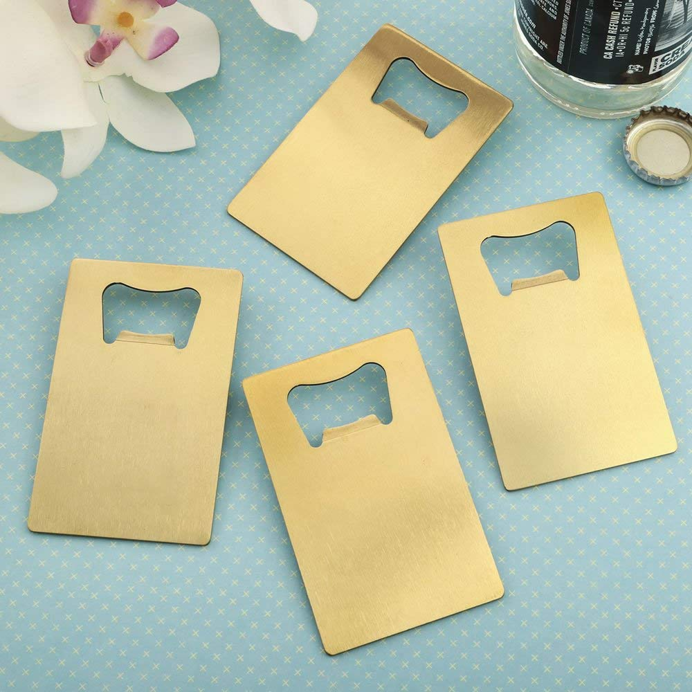 24 Perfectly Plain Credit Card Brushed Gold Stainless Steel Bottle Openers