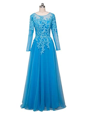 Beauty-Emily Prom Dresses Womens Long Sleeves Long Blue Lace Dresses Plus Size Blue,