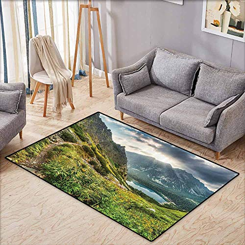 Custom Door Rugs for Home Rugs Apartment Decor Collection Mountain by The Lake with Fairy Dark Cloudy Sky Spring Dream Spot on Earth Photo Green White Blue with Anti-Slip Support W6'8 xL4'9 ()