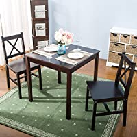 Harper&Bright Designs 3PC Solid Wood Dining Set Table and Chairs (Espresso)