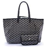 CharlestonDe Lady Tote PU Leather Shoulder Bag Set (GM Size, Black)