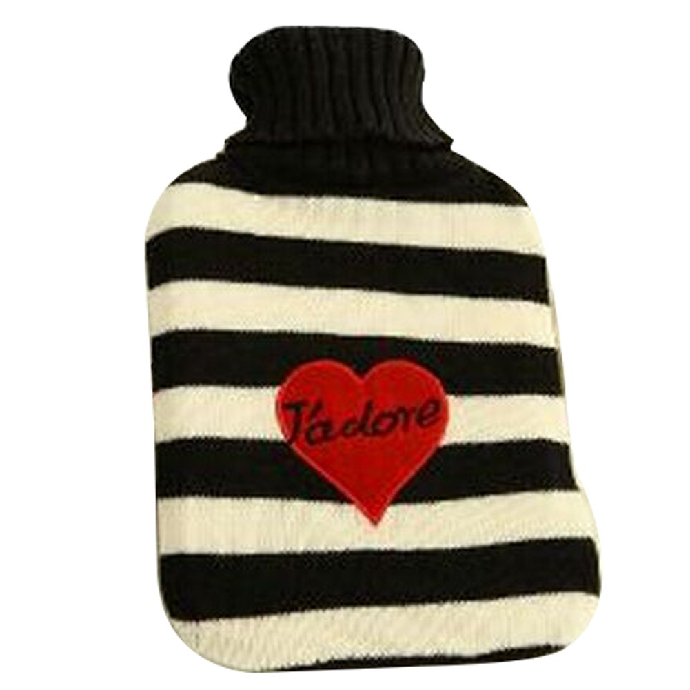 OLizee® Large 2 Liters Classic Rubber Hot Water Bottle with Cute Knit Cover, Heart