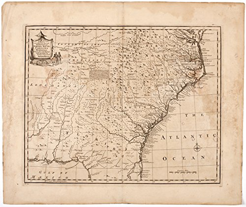 Historic Map | 1752 A new & accurate map of the provinces of North & South Carolina Georgia et cetera | Antique Vintage Reproduction