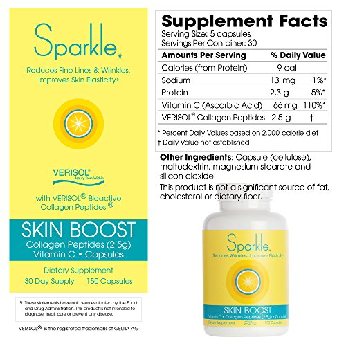 Sparkle Collagen Peptide Supplement Capsules (2 Pack) 30 Days Pills 2500mg Featuring Verisol Bioactive Collagen Peptides,150 Capsules by Sparkle Collagen (Image #7)