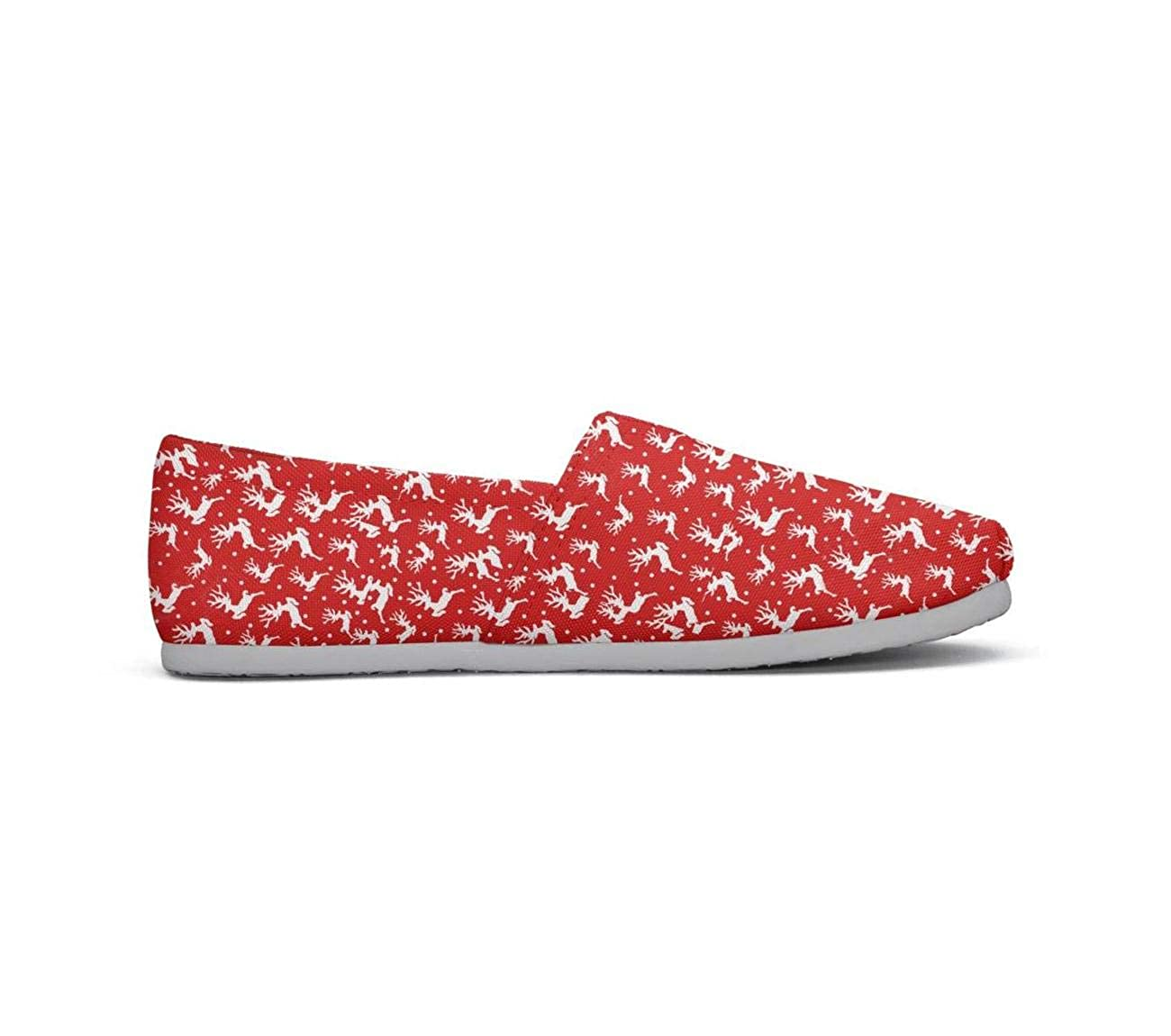 Reindeer Star with Red Scarf Casual Womens Comfort Flat Boat Shoes Girls Espadrille Flats