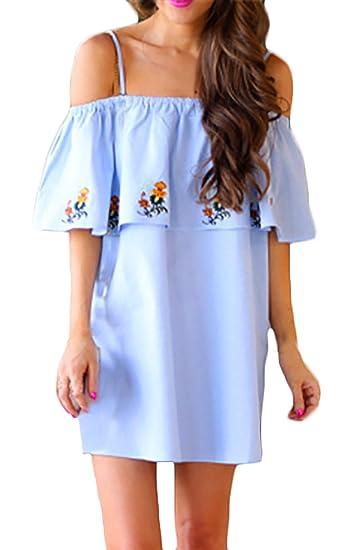 Vestido Mujer Verano Elegantes Hombros Descubiertos con Volantes Vestidos Cortos Niñas Ropa Moda Suelta Casual Estampado Flores Vestidos Playa Vestido ...