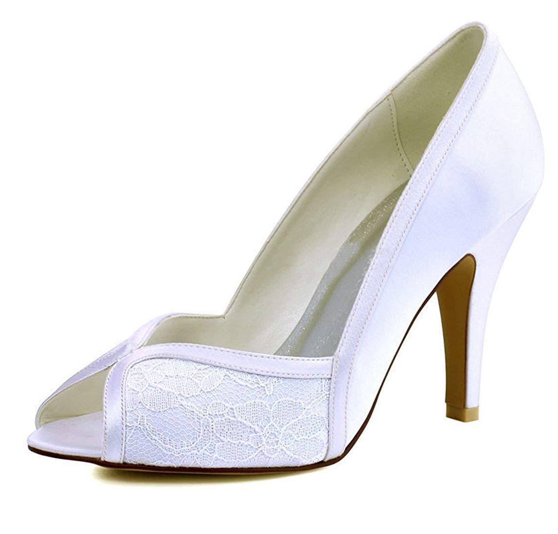 ZHRUI Damen Peep Toe zweifarbig Elfenbein Spitze Satin Braut Hochzeit Abend Sandalen UK 2.5 (Farbe   -, Größe   -)