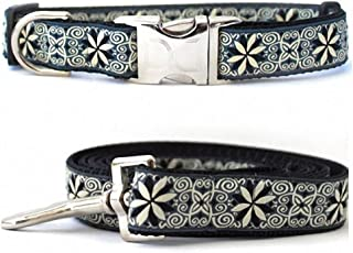 "product image for Diva-Dog 'Pinwheel Norway Winter' Custom Medium & Large Dog 1"" Wide Dog Collar with Plain or Engraved Buckle, Matching Leash Available - M/L, XL"