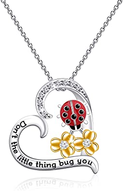 Ladybug Wood and Sterling Silver Necklace Good Luck and Adoption