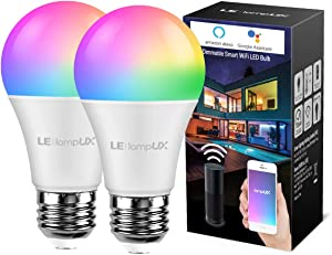 LE LampUX Smart LED Light Bulbs, Works with Alexa Google Home, Warm White 2700K, Color Changing Light Bulbs, Dimmable with App, A19 E26, 60 Watt Equivalent, 2.4GHz WiFi, No Hub Required (Pack of 2)