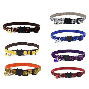 kangOnline Bling Bling Collar de Gato con Purpurina y Cascabel de Seguridad para Perros pequeños y Gatos, Collares Brillantes Ajustables de 20 a 29 cm: ...