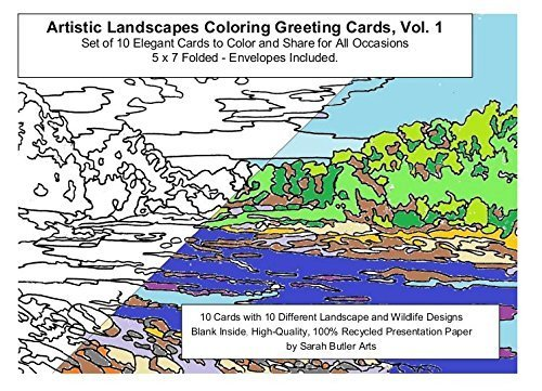 Artistic Landscapes Coloring Greeting Cards, Vol. 1, Set of 10 Elegant Cards to Color and Share for All Occasions, by Sarah Butler Arts