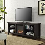 "WE Furniture 70"" Wood Fireplace TV Stand Console, Espresso"