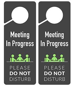 Do Not Disturb Door Hanger Sign, 2 Pack, Please Do Not Disturb Sign, Meeting in Progress
