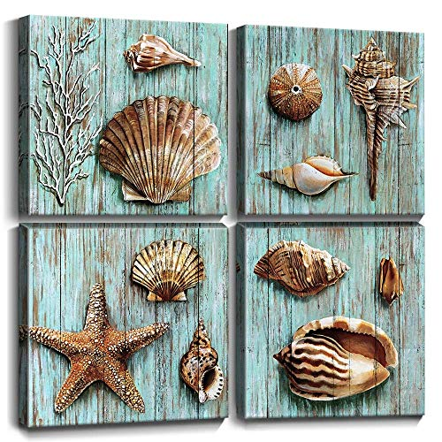 YOOOAHU Art Vintage Blue Green Conch Shell Coral Canvas Print Painting Suitable for Bathroom Decor and Bedroom Wall Decor 12x12x4 Piece ()