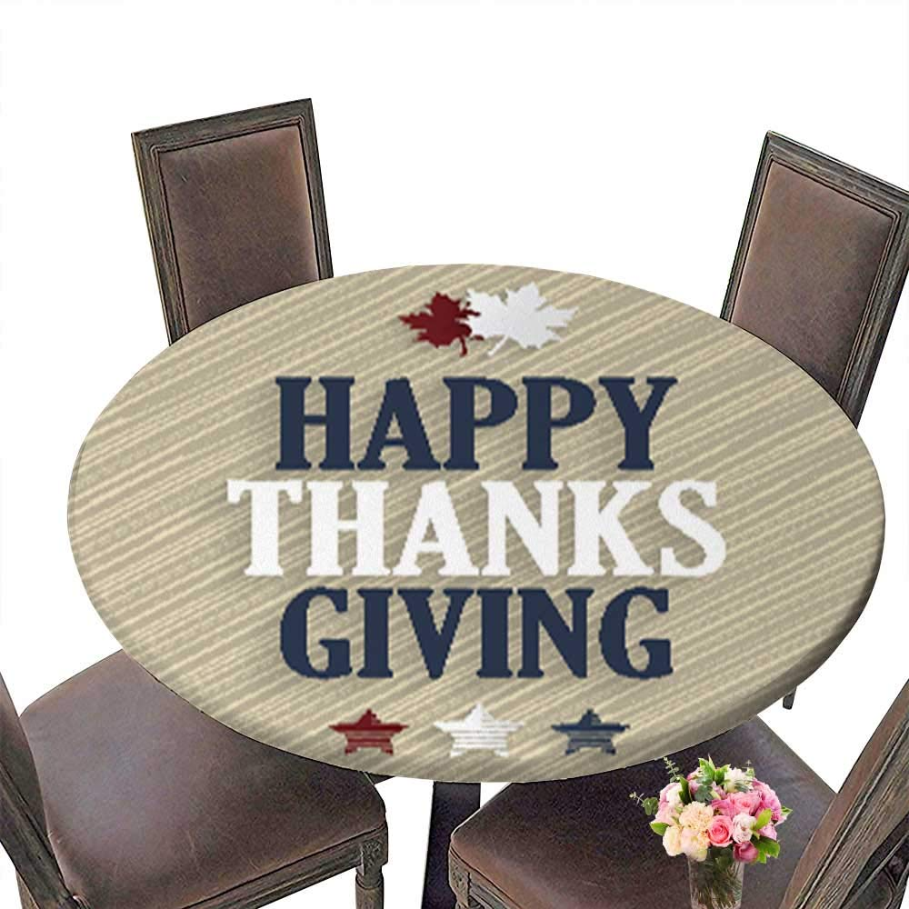 Printed Fabric Round Tablecloth,Happy Thanksgiving Wooden Background Washable Polyester up to 31.5''-33.5'' Diameter
