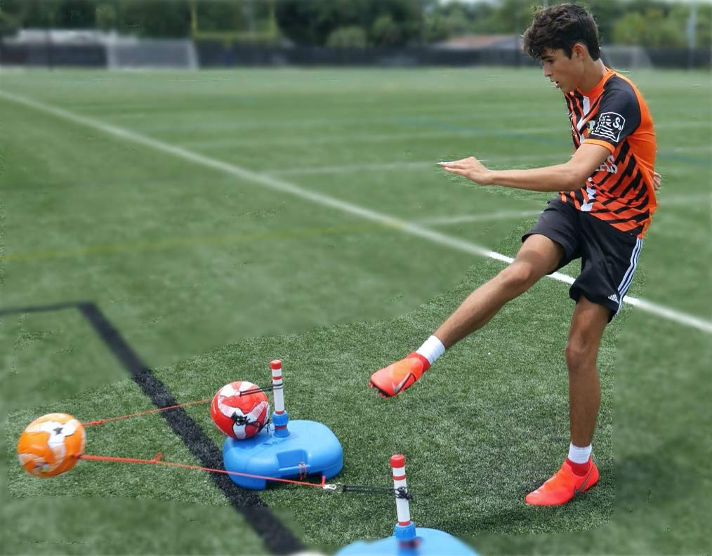 SoccerMAS REACT3ON - The World's Fastest Soccer Trainer - All Ages - ONE2TRAIN Soccer Training Equipment - Soccer Ball 5, 3 for Reaction Reflexes Skills - Indoor - SOCCERFLIX Agility Training Set