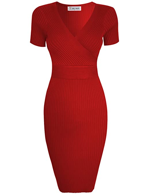 Womens Stylish Surplice Wrap Bodycon Knit Midi Dress