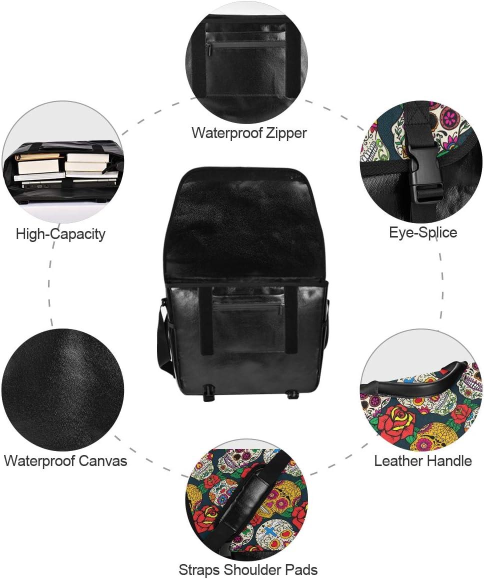 Traveling Camping Shoulder Bag Laptop Computer Casual Canvas Satchel Messenger Bag Mexica Day Dead Sugar Skull Chiefs for Men Women Student