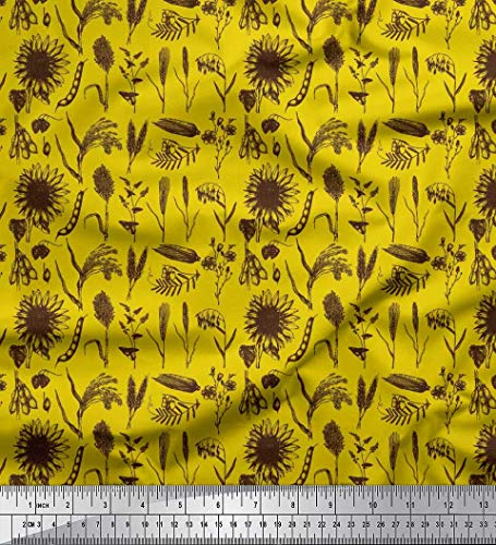 Soimoi Yellow Cotton Duck Fabric Wheatgrass & Sunflower Floral Decor Fabric Printed BTY 42 Inch Wide