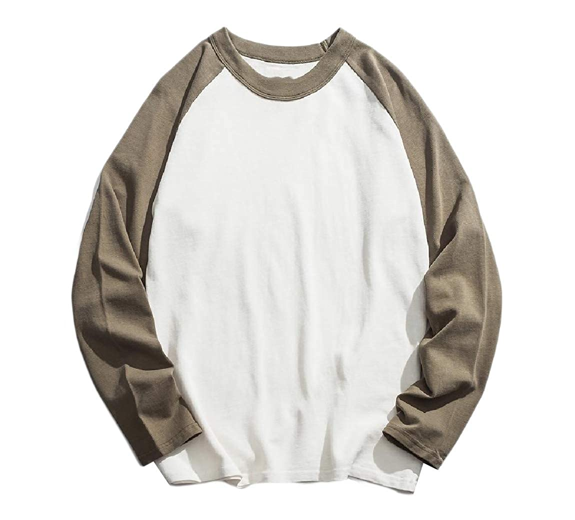 RDHOPE-Men Raglan Loose Down Tops 100/% Cotton Crewneck T-Shirt Tee