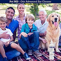 Pet MD - Otic Advanced Cat & Dog Ear Cleaner - Effective Against Otitis Externa, Ear Infections Caused by Mites, Yeast, Itching & Odor - Apple Kiwi Scent - 8oz