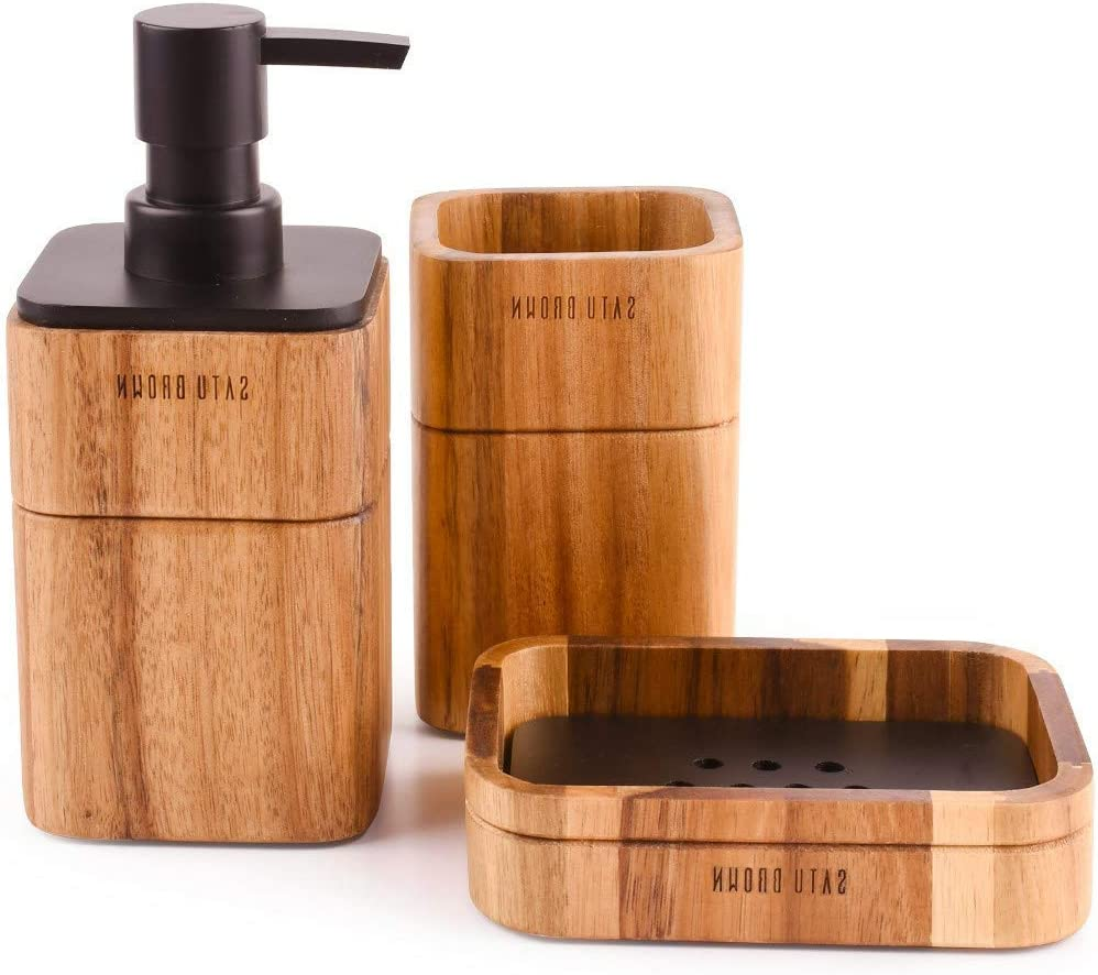 LunaLife Bathroom Accessories Set 3 Piece Bath Ensemble Includes Soap Dispenser, Bathroom Tumbler, Soap Dish Accessories for Decorative Countertop and Housewarming Gift,Acacia Wood