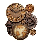 ChachaIn Steampunk Industrial Multi Gear Globe Mechanically Inclined Large Wall Clock 7