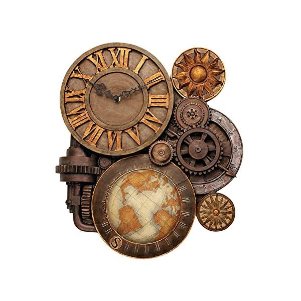 ChachaIn Steampunk Industrial Multi Gear Globe Mechanically Inclined Large Wall Clock 4