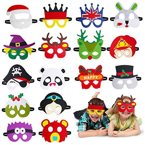 Beelittle Party Masks for Birthday Party Favors Dress-Up Costume 16 Pieces