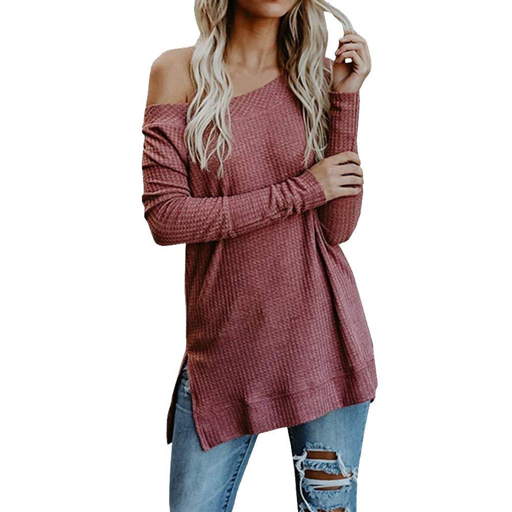 DuseedikWomen Autumn Winter Long Sleeve Solid Knitted Sweater T Shirt Blouse Tops