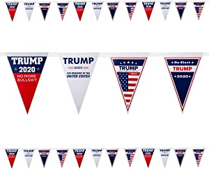 2 Pack 16.4 Feet 2020 Trump Pennant Flags- 24pcs Donald Trump 2020 Banners in 4 Styles Triangle Trump Bunting Flags 45th President Election Day Celebration Suppiles for Garden Party Decors Parades