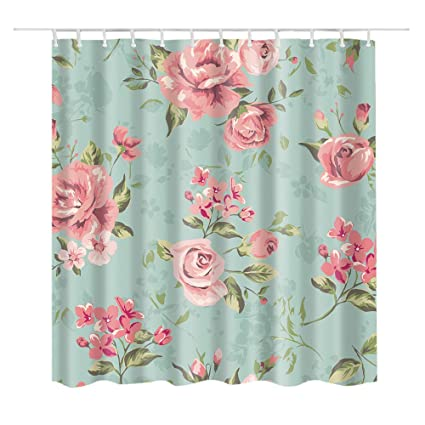 BARTORI Animal Flower Pattern Shower Curtain Pink Rose And Any Other Floral Green Leaves