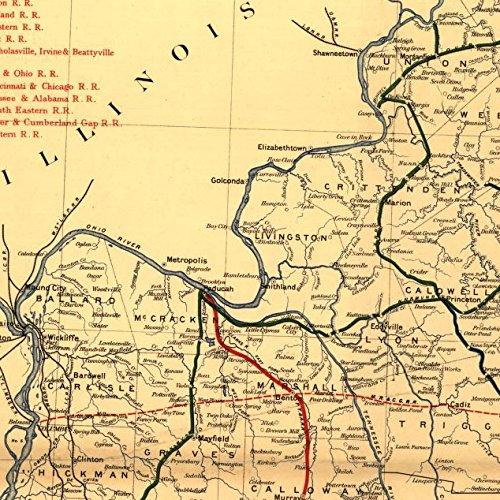"14/"" x 24/"" 1889 Map Of Kentucky By Kentucky Geological Survey"