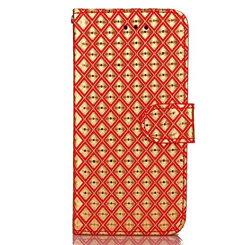 JIALUN-carcasa de telefono caso del patrón del enrejado del diamante del iPhone 7, funda de cuero de la PU cubierta suave de TPU con la caja del monedero del soporte de la correa de mano para IPhone 7 4